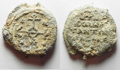 ZURQIEH -aa8598- HUGE BYZANTINE LEAD SEAL AS FOUND: BYZANTINE 7th century AD. Le