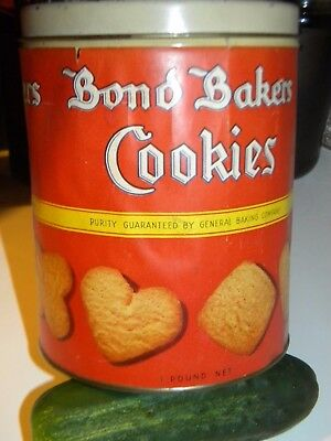 Old BOND BAKERS COOKIES.. Vintage GENERAL BAKERY TIN with the Old Paper Label