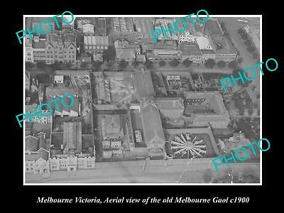 OLD LARGE HISTORIC PHOTO OF THE OLD MELBOURNE GAOL, AERIAL VIEW c1900