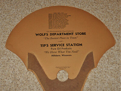 Hillsboro WI Wolf's Department Store Tip's Service Station Pure Oil Old Hand Fan