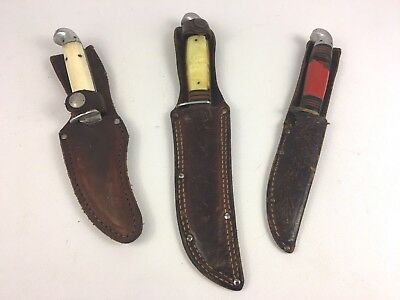 Lot of (3) Vintage Western (Boulder, CO.) Fixed Blade Knives with Sheathes