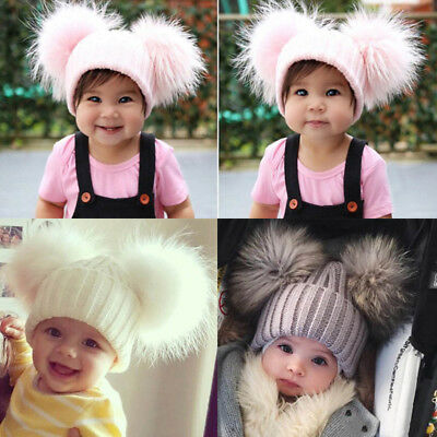 UK Baby Toddler Kids Warm Double Real Fur Pom Pom Crochet Knit Beanie Hat Cap OY