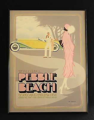 SIGNED 1987 37th Pebble Beach Concours Framed Fine Art Print Poster EBERTS