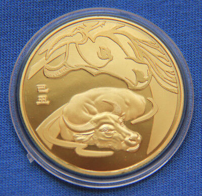 Chinese Zodiac 24K Gold Medal Coin--Year of the Ox