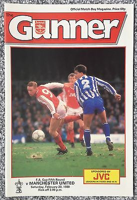 ARSENAL v MANCHESTER UNITED - FOOTBALL PROGRAMME - FA CUP 5TH ROUND, 1988