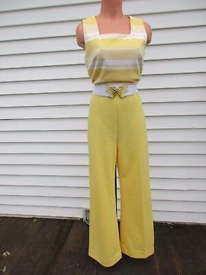 Vintage 70s Yellow Polyester Jumpsuit Flare Leg Jumper Butterfly Belt