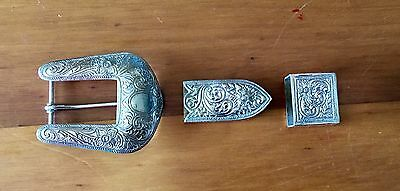 Hand Engraved Silver Buckle Set