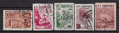 1953-1961 ALBANIA SET OF 5 USED STAMPS (Michel # 525,603,605,620,632) CV €5.80