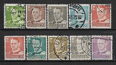 1948-1955 Denmark Set Of 10 Used Stamps