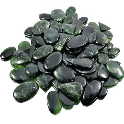 5000 Ct~105 Pcs Natural Green Rutilated Serpentine Cab Gemstone Wholesale Lot