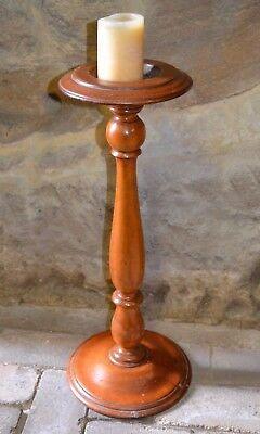 Retro Vintage Solid Wood Pedestal Smoking Stand Re-purposed Candle Plant Holder