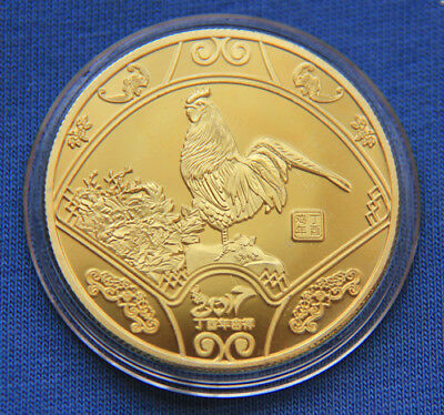 2017 Chinese Zodiac 24K Gold Medal Coin--Year of the Rooster #209