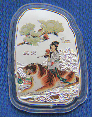 2010 Chinese Zodiac Silver Colour Art Medal--Year of the Tiger 30mmx50mm