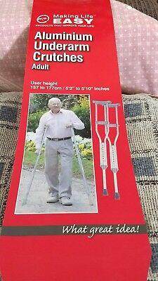 """Adjustable Aluminum Crutches 5'2"""" to 5'10"""" (157-177 cm) Only used for a few days"""