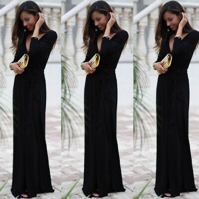US Stock Womens Sexy Maxi Dress Long Sleeve Evening Party long Section Dress