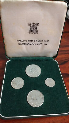 1964 Malawi 4 Coin Proof Set- First Issue Coinage, Independence July 6 1964