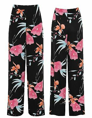 Womens Floral Print Flared Palazzo Trousers Ladies Printed Summer Wide Leg Pants