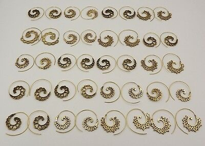 20Pcs.Lot Boho Spiral Special 925 Solid Brass Charming Unique Earring KA9320