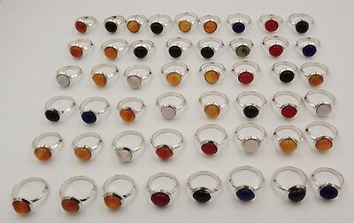 49Pcs. Lot Deluxe Black Onyx & Multi Stone 925 Silver Plated Antique Ring KA8054