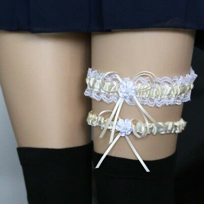 Cream Lace Wedding Garters with Bowknot Stain Adjust Stretch Bridal Accessory