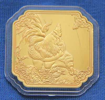 2017 Chinese Zodiac 24K Gold Medal--Year of the Rooster 30mmx30mm #44
