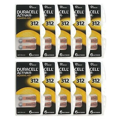 60 pcs Duracell hearing aid batteries Type 312 FREE SHIPPING!