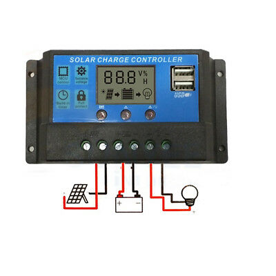 NEW 30A 12V-24V PWM Solar Panel Regulator Charge Controller & Timer, LCD Display