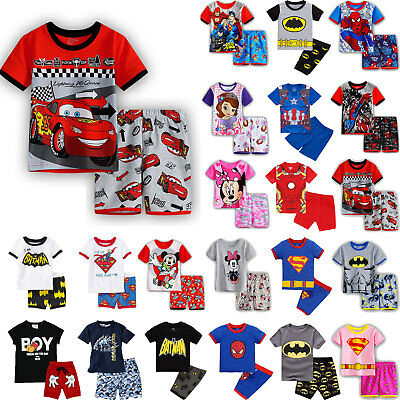 Kids Baby Boys Caroon Short Sleeve Tops Shorts Sleepwear Pyjamas Pjs Outfit Sets