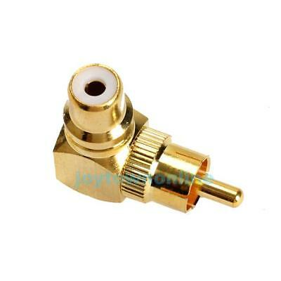 Gold Plated 90 Degree RCA Right Angle Adaptor Male to Female Plug Connector