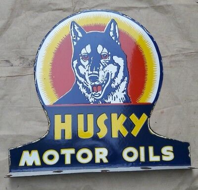 "HUSKY MOTOR OILS Enamel Sign SIZE 21.5"" X 23.5"" INCHES  2 SIDED FLANGE"