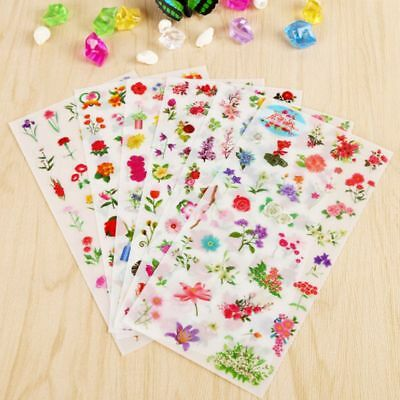 6Sheets Plants Floral Stickers Diary Scrapbook Decor PVC Stationery Stickers New
