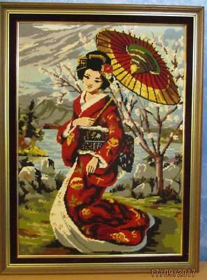 Large Vintage Needlepoint Geisha Girl TAPESTRY Completed & Professionally Framed