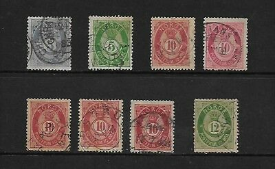 NORWAY tidy lot of used 1877 without serif vals CV £26