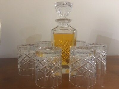 Stuart crystal decanter set - decanter + 6 glasses - excellent condition
