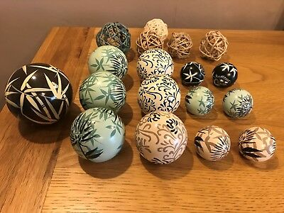Collection of Ornimental display balls - Blue- Cream- Brown from Next