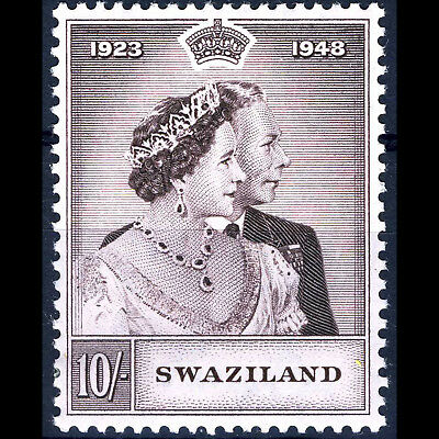SWAZILAND 1948 10s Brown Silver Wedding. SG 47. Lightly Hinged Mint.  (AB292)