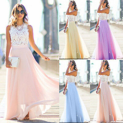 Long Chiffon Womens Lace Dress Evening Formal Party Gown Prom Bridesmaid Dress