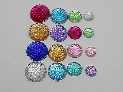 250 Assorted Flatback Acrylic Dotted Round Rhinestone Dome Cabochon 6mm-12mm