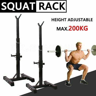 2x Squat Rack Bench Press Barbell Stand Weight Lifting Home Gym Fitness Adjust E