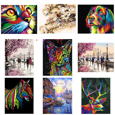 3D Digital DIY Paint By Number Kit Cat Oil Painting on Canvas Wall Artwork Gift