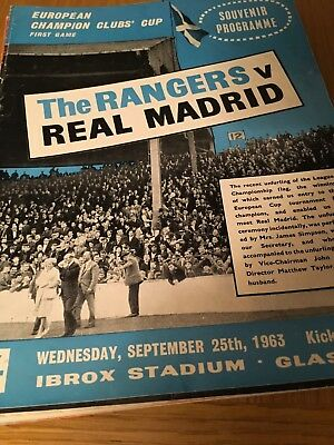 RANGERS v  Real Madrid  25.9.1963 EUROPEAN CUP