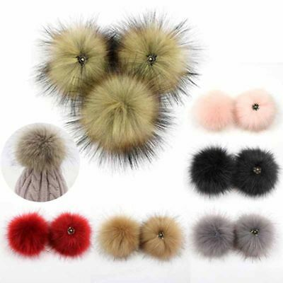 11CM Multicolor Raccoon Fur Fluffy Pom Pom Ball with Snap Button Hat Access