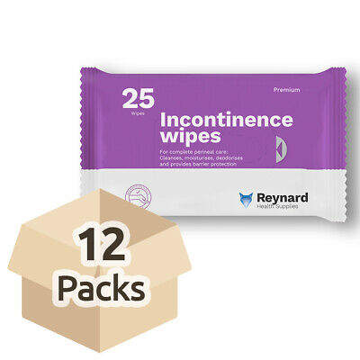 Reynard Incontinence Wipes - Case - 12 Packs of 25 Wipes