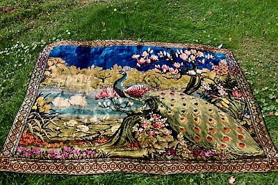 antique tapestry 1960's peacock made in Italy - very colorful
