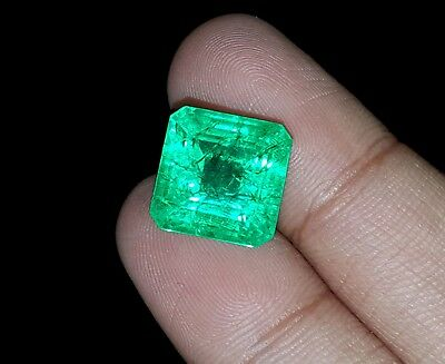 With Certified Square Shape 10.42 Ct Natural Colombian Emerald