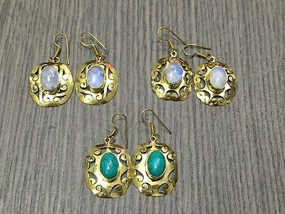 WHOLESALE LOT 3 pcs TURQUOISE&RAINBOW MOONSTONE.925 SOLID BRASS VINTAGE EARRING