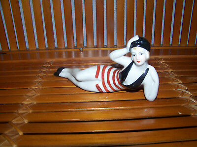 Figurine Baigneuse Pin-up Sexy Style Art Deco-allemand Porcelaine.maillot  1900