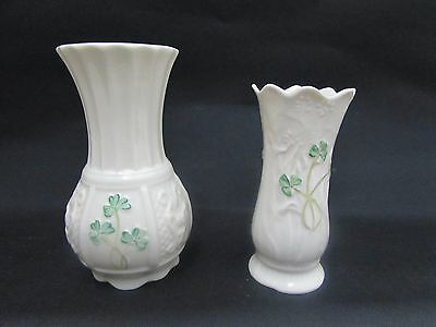 Two Belleek Shamrock Pattern Vases