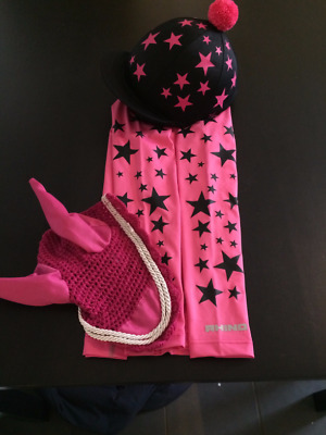 Cross Country Hot pink Base Layer, Black Silk, Pink ears. Size S/M (10/12 ladies