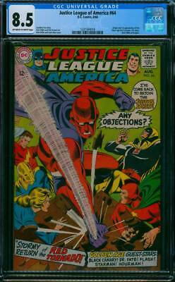 Justice League of America # 64 Return of the Red Tornado ! CGC 8.5 scarce book !